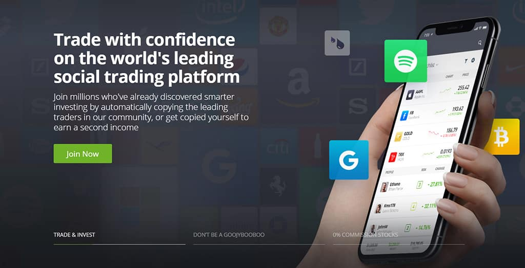 eToro home page featured image