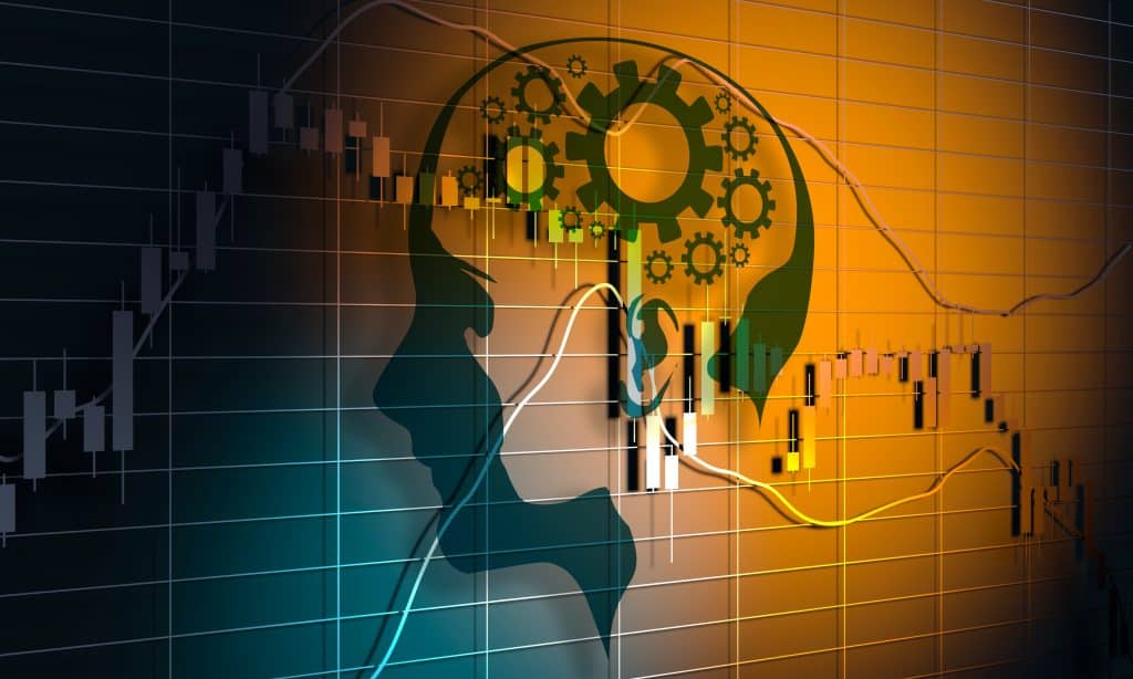 forex trading education. Forex candlestick pattern. Trading chart concept. Financial market chart. Human head silhouette. 3D rendering