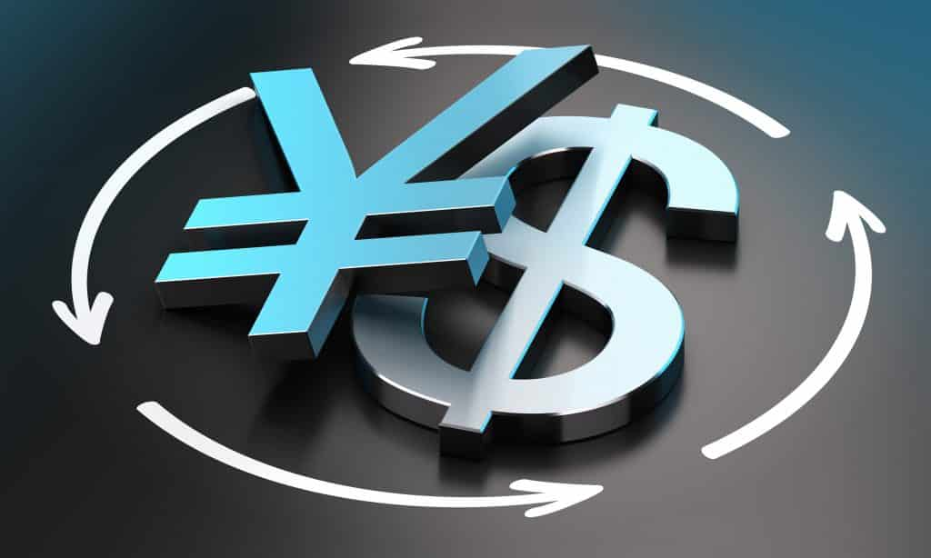 what is forex trading, US Dollar and Japanese Yen symbols over black background with circular arrows. conceptual image for illustration of exchange rate between the two currencies