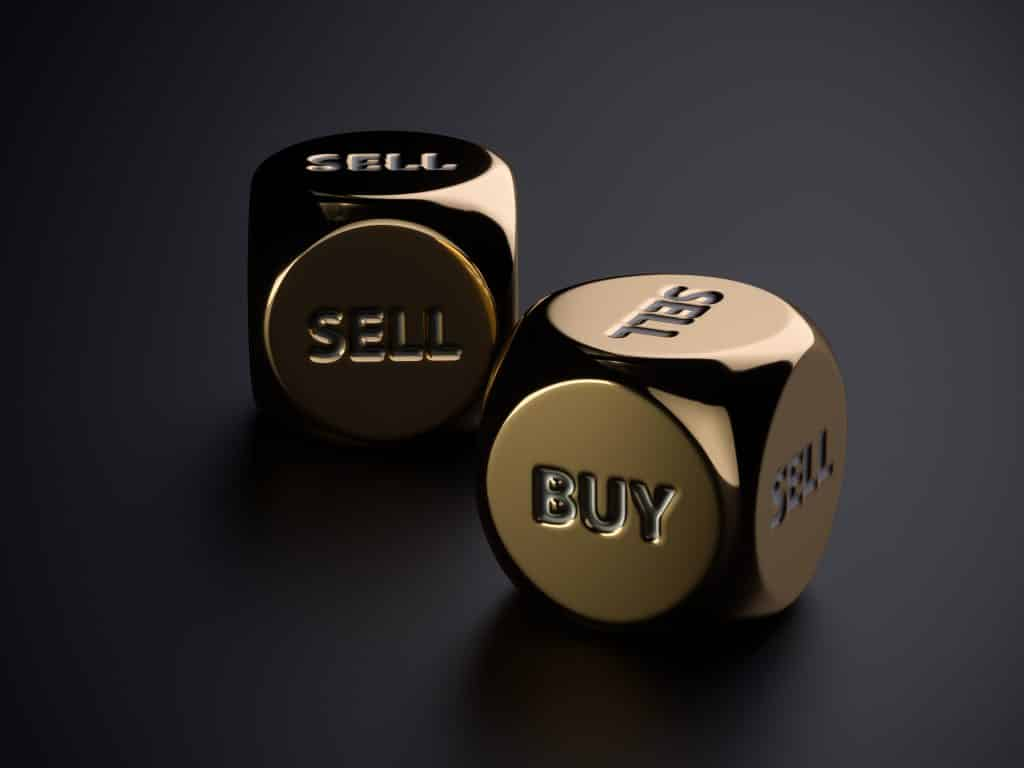 what is hedging in forex, Buy sell golden dices on black background. 3d rendering trading concept illustration
