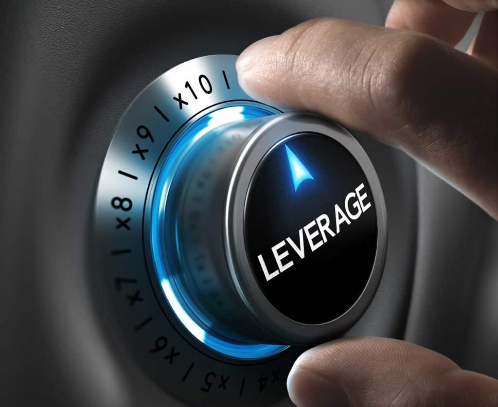 what is leverage in forex, Leverage button pointing x10 position with two fingers, blue and grey tones, Conceptual image for day trading strategy.
