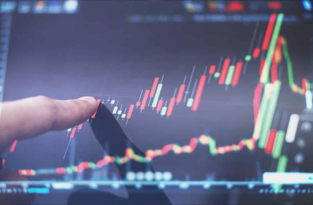 Finger pointing on MT4 exchange market chart, raising graph. Business and investment growth on MetaTrader 4 trading platform