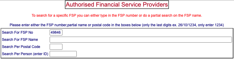 fsca fsp search by fsp number