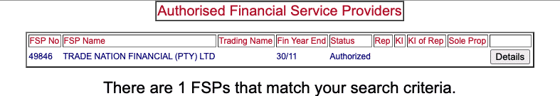 authorised financial service provider fsca website