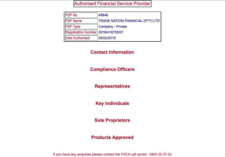 Successful FSCA FSP search