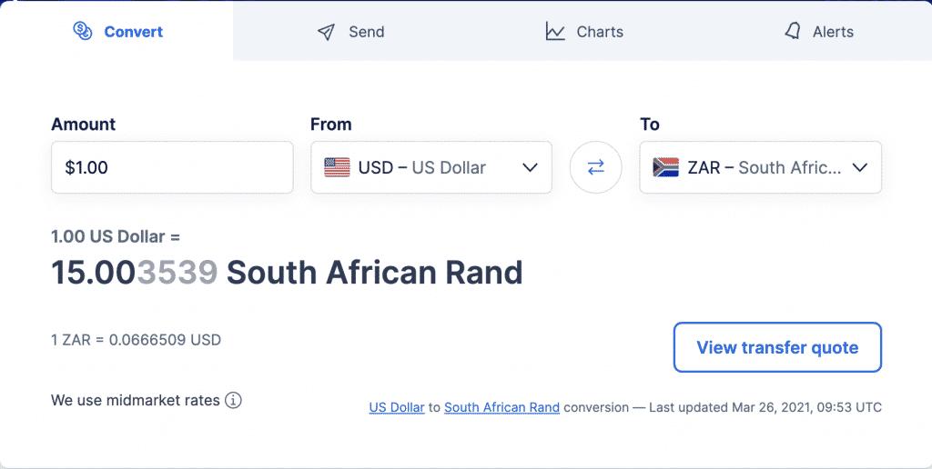 XE converting USD to ZAR Calculator