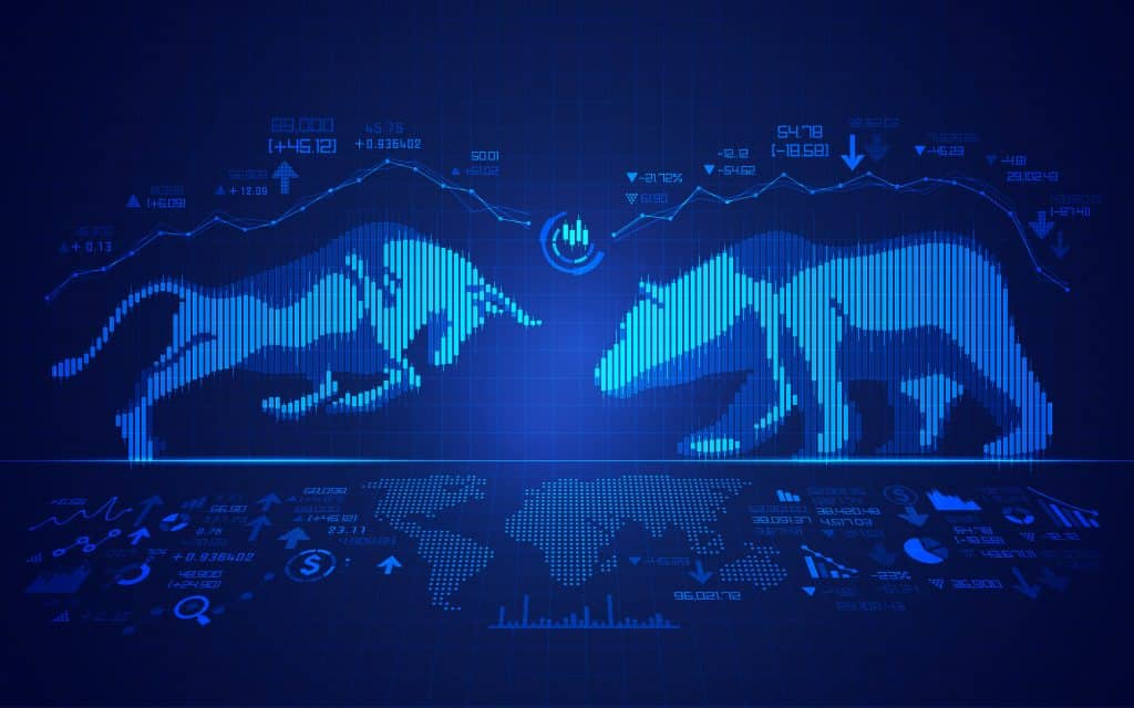 stock market education,concept of stock market exchange, graphic of bull and bear combined with candlestick
