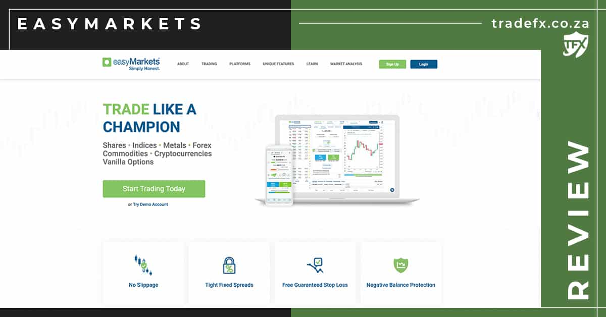 EasyMarkets Review by TradeFX Homepage Screenshot