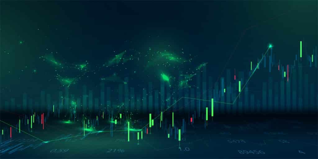 forex trading south africa, forex charts, green and red colour candlesticks with dark background