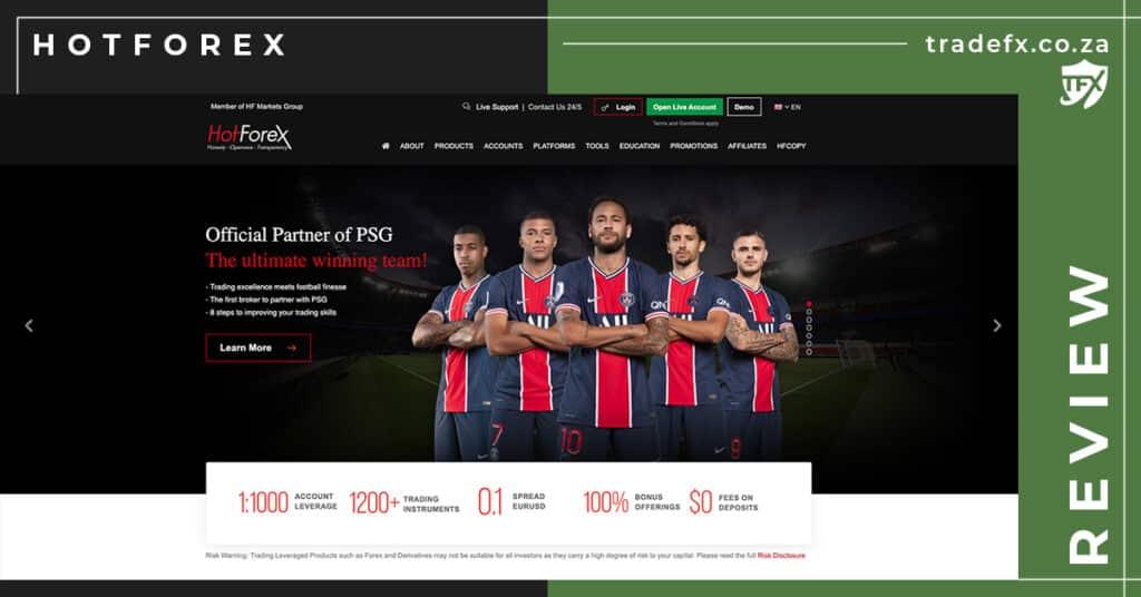 HotForex Review by TradeFX Homepage Screenshot