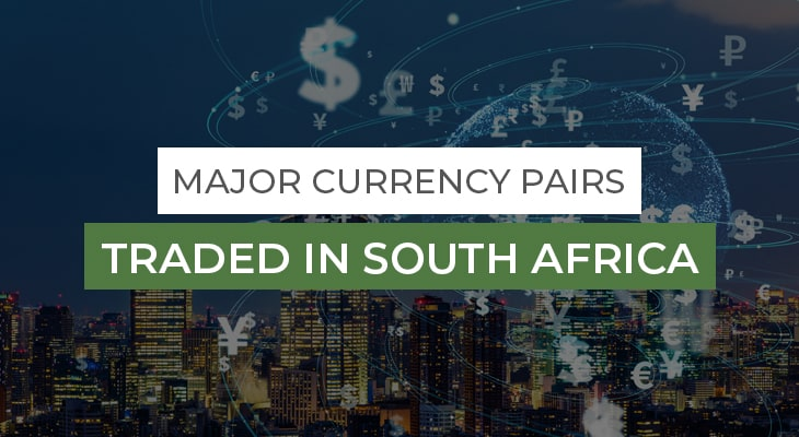 Major currency pairs traded in south africa, text with different currency symbols in background