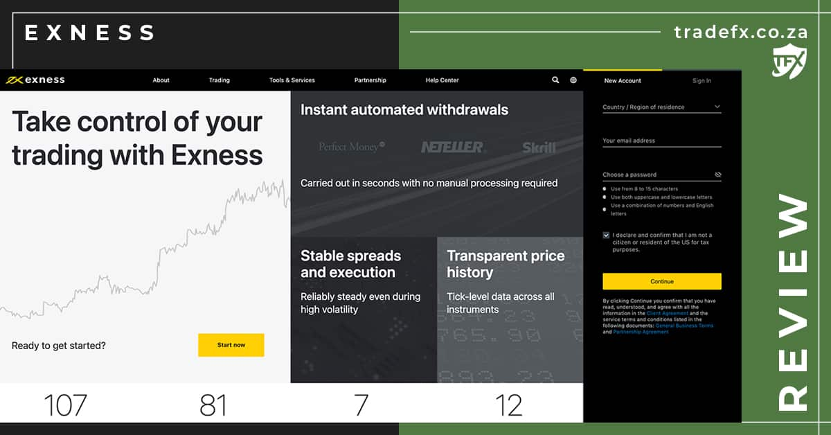 Exness Review by TradeFX Homepage Screenshot