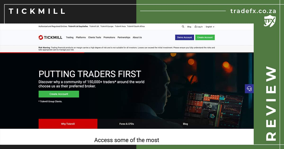 Tickmill Review by TradeFX Homepage Screenshot