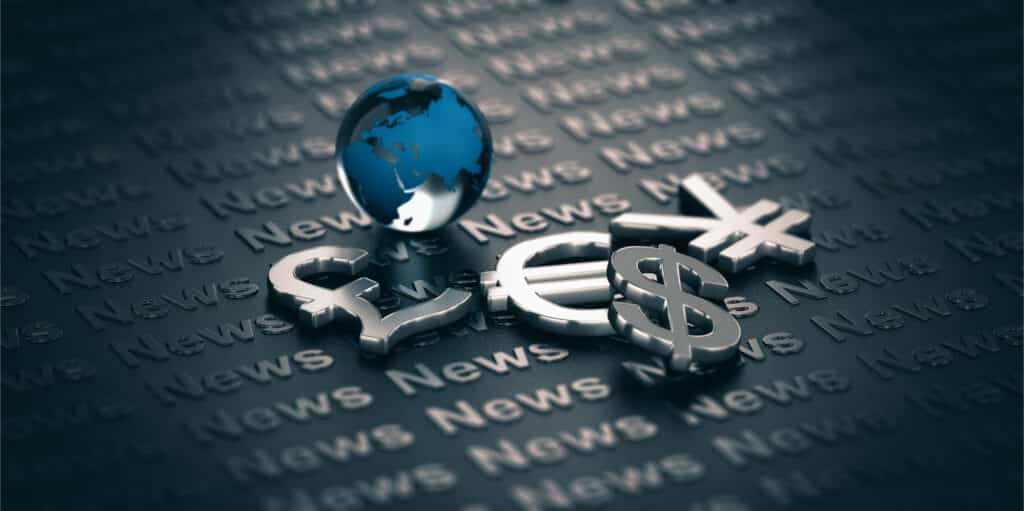 trading the currency market, euro, yen, pound and dollar symbols