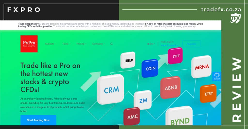 FXPro Review by TradeFX Homepage Screenshot