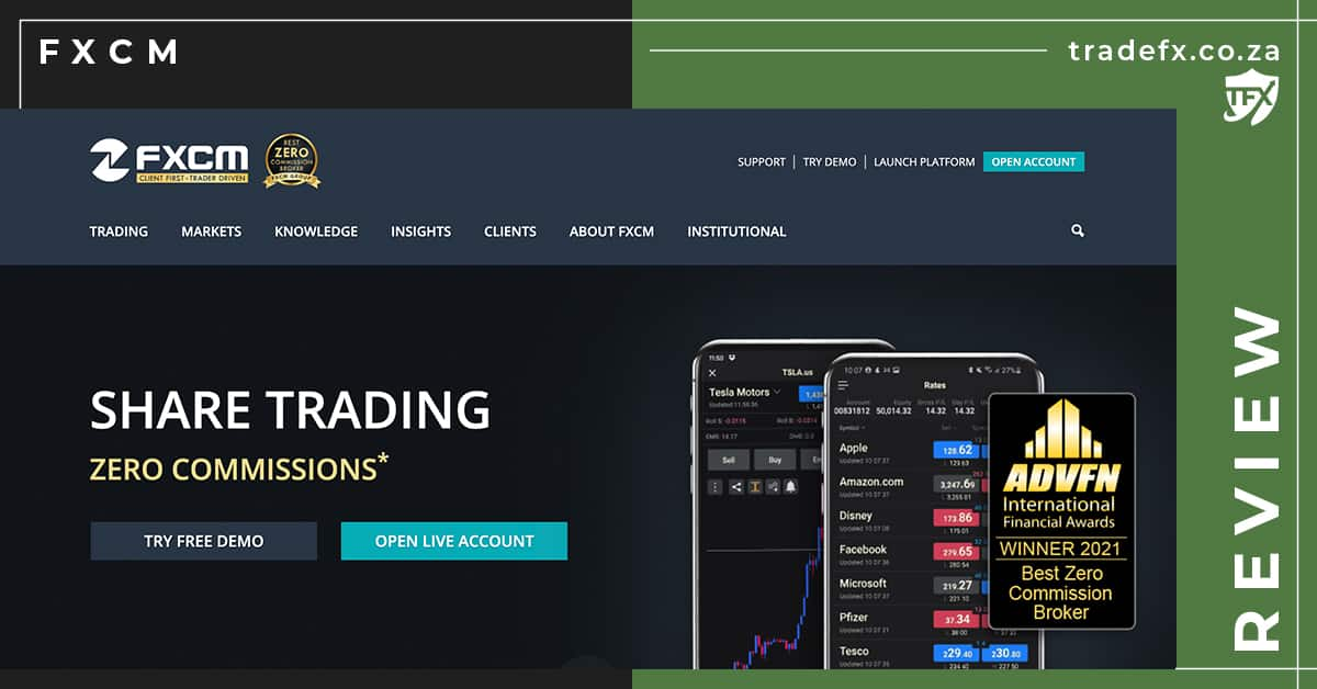 FXCM Review by TradeFX Homepage Screenshot