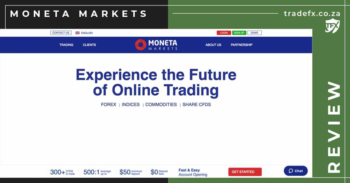 Moneta Markets Review by TradeFX Homepage Screenshot
