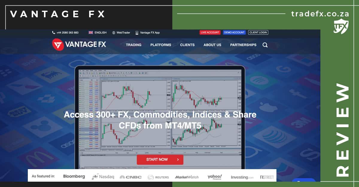 Vantage FX Review by TradeFX Homepage Screenshot